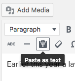Paste as text button