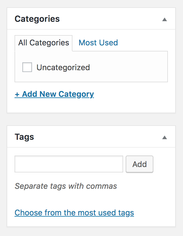 Screen shot of categories and tags menus