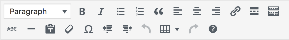 Screen shot of content editor buttons